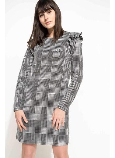 DeFacto Desenli Elbise Gri